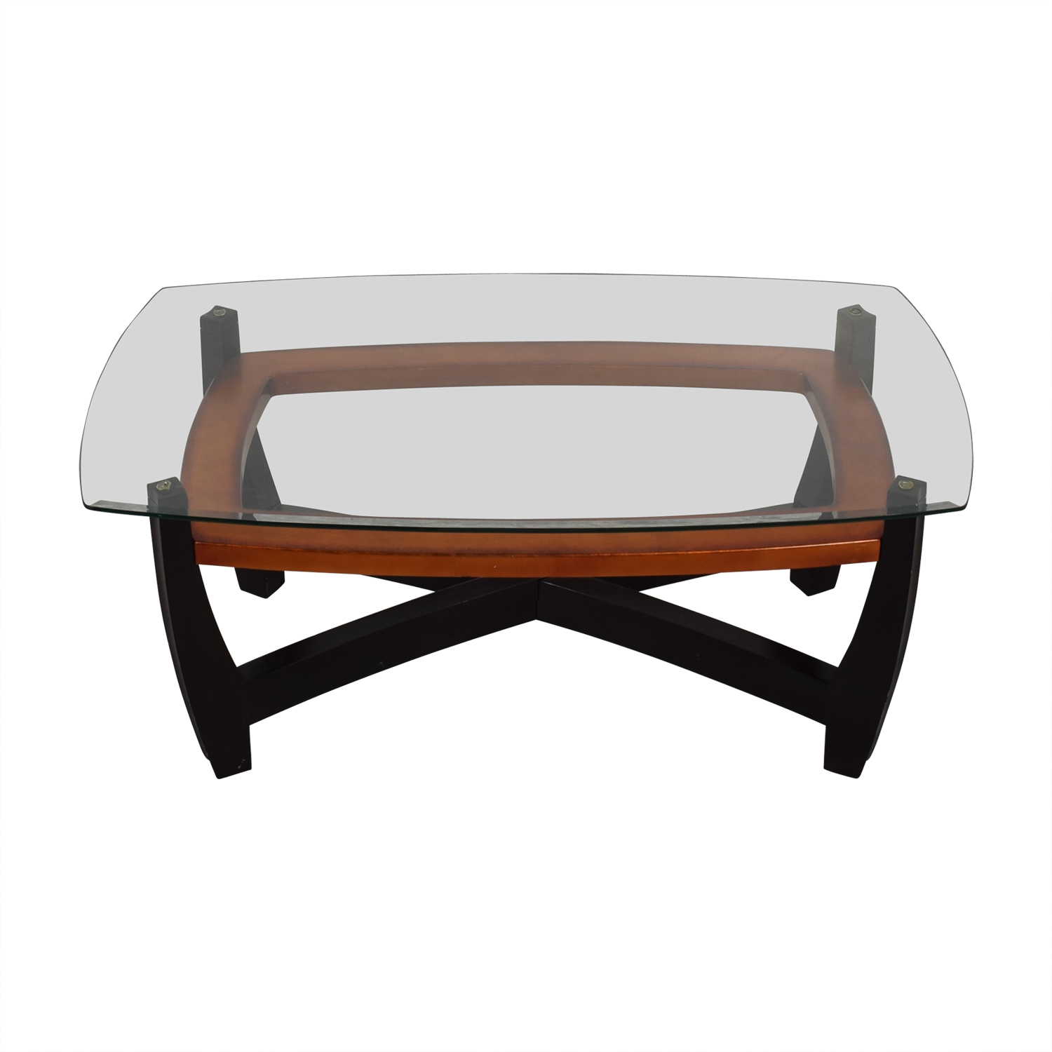 shop Raymour & Flanigan Black and Brown Glass Top Coffee Table Raymour & Flanigan