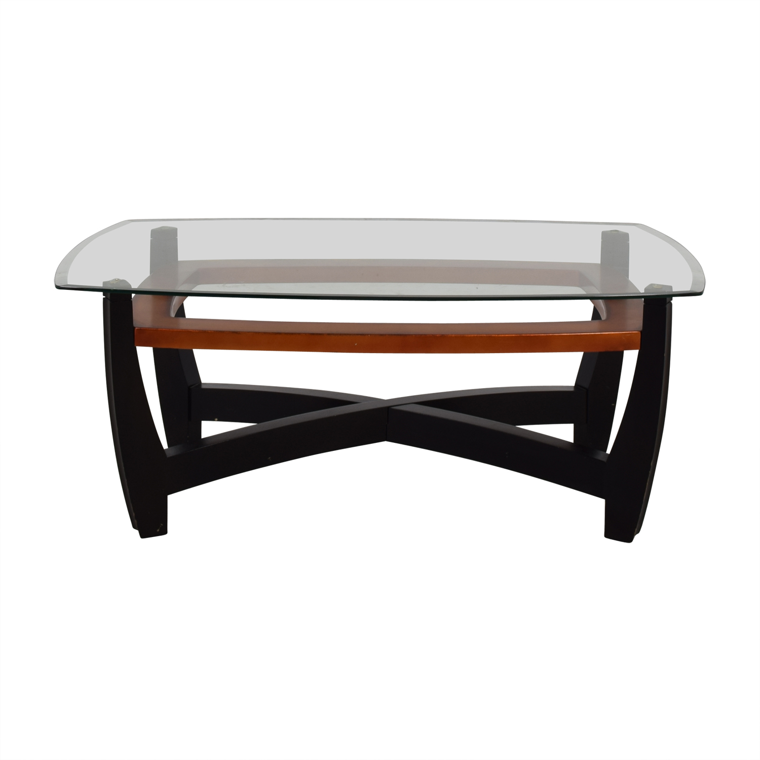 Raymour & Flanigan Raymour & Flanigan Black and Brown Glass Top Coffee Table Coffee Tables