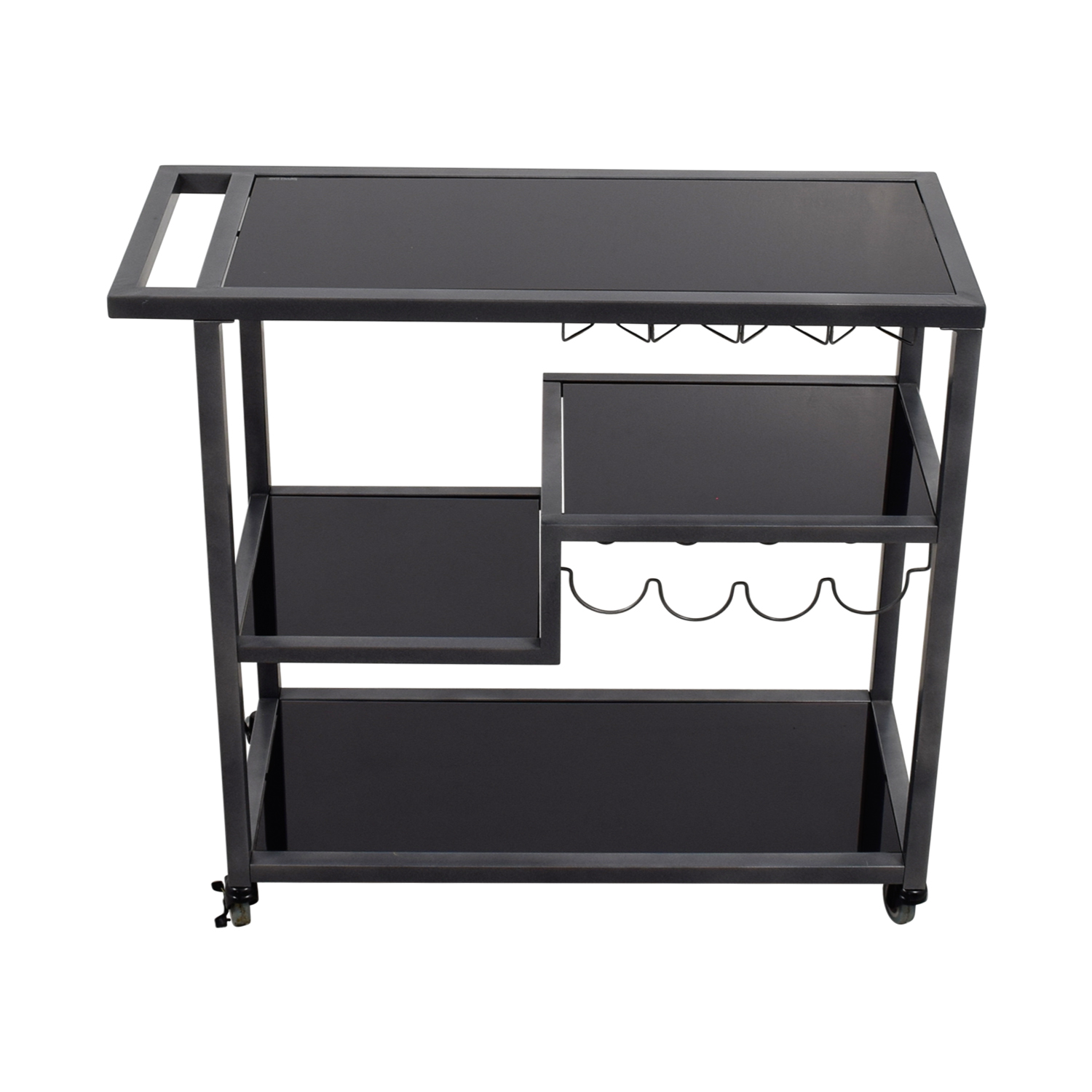 Holly & Martin Holly & Martin Zephs Black Glass and Metal Bar Cart for sale