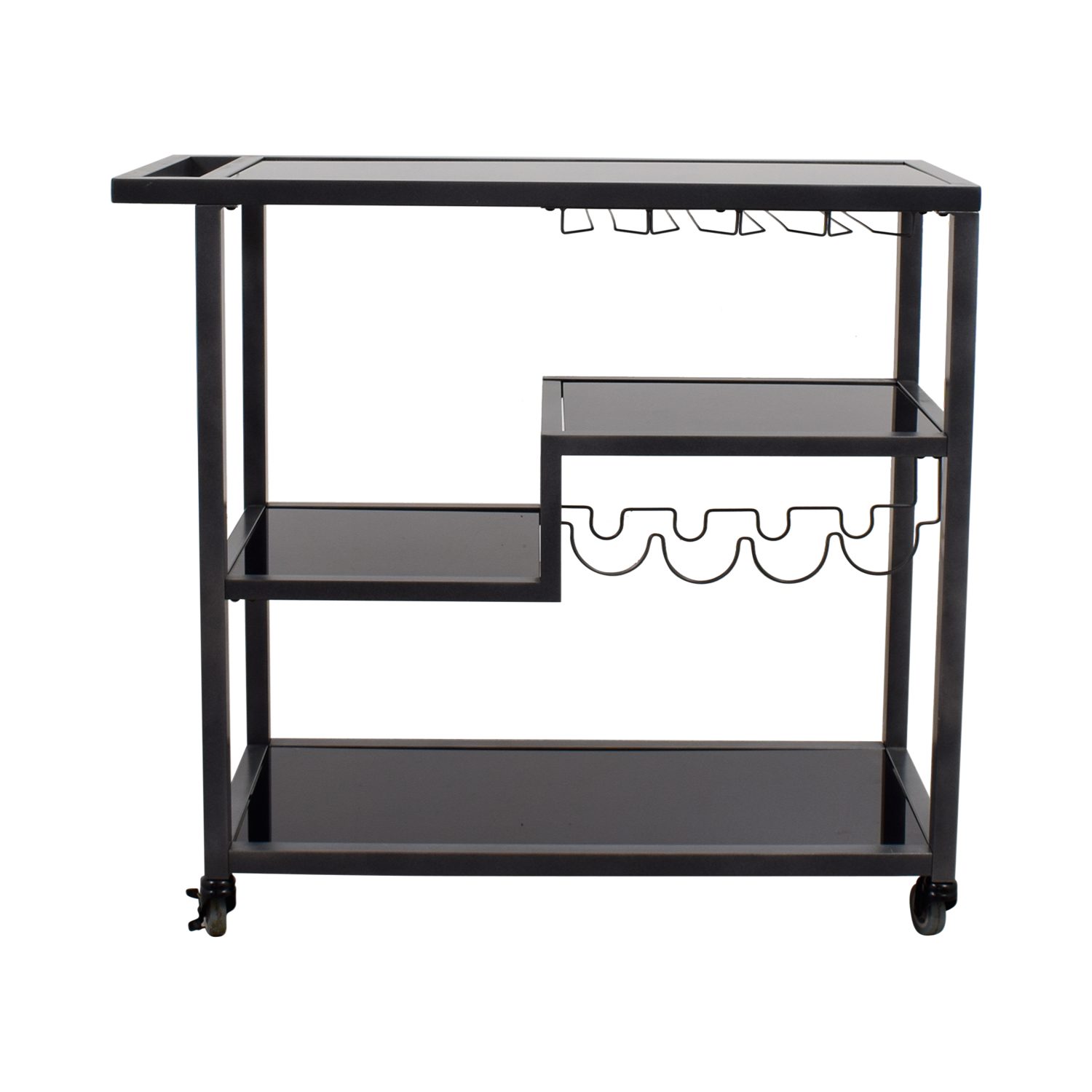 shop Holly & Martin Holly & Martin Zephs Black Glass and Metal Bar Cart online