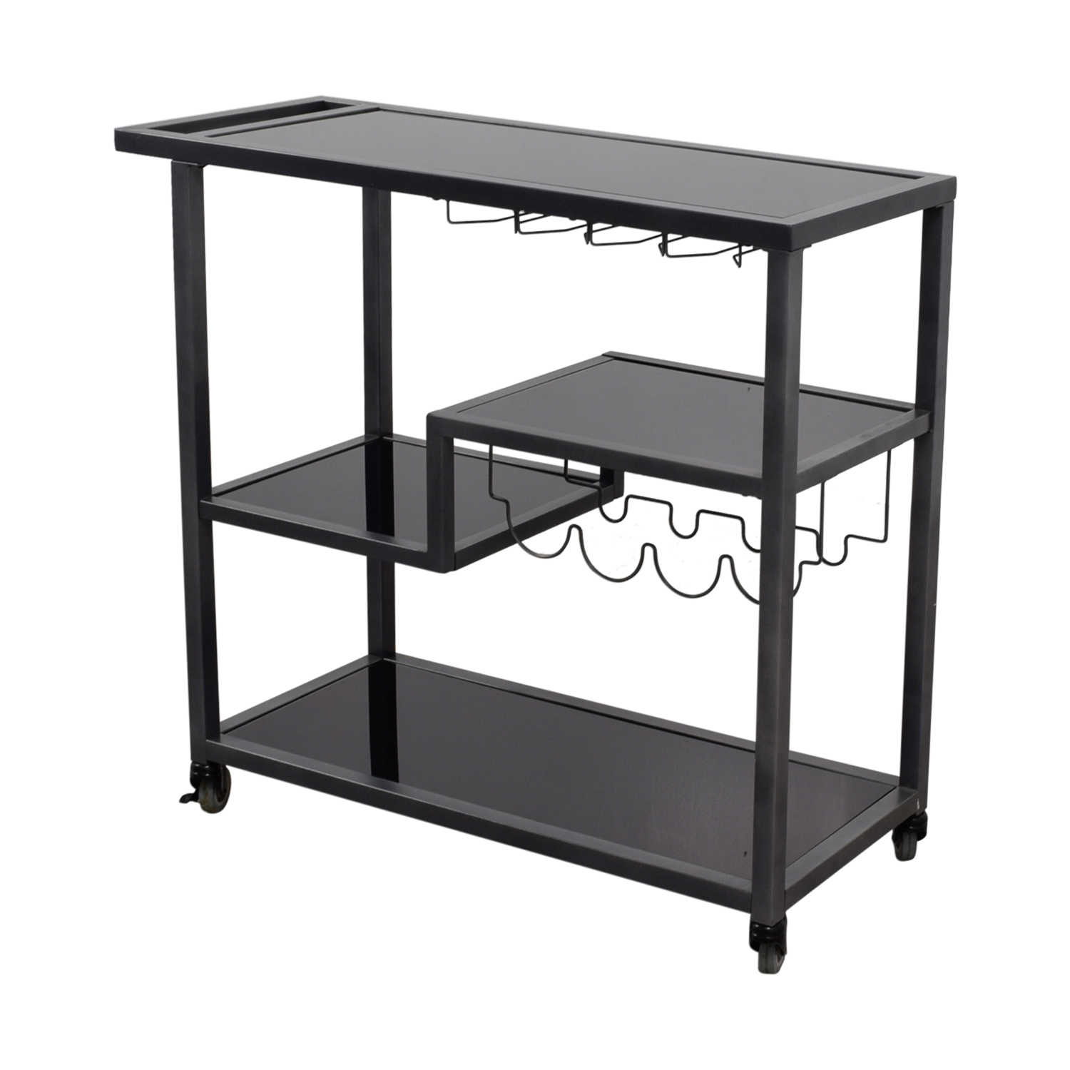 Holly & Martin Holly & Martin Zephs Black Glass and Metal Bar Cart Tables