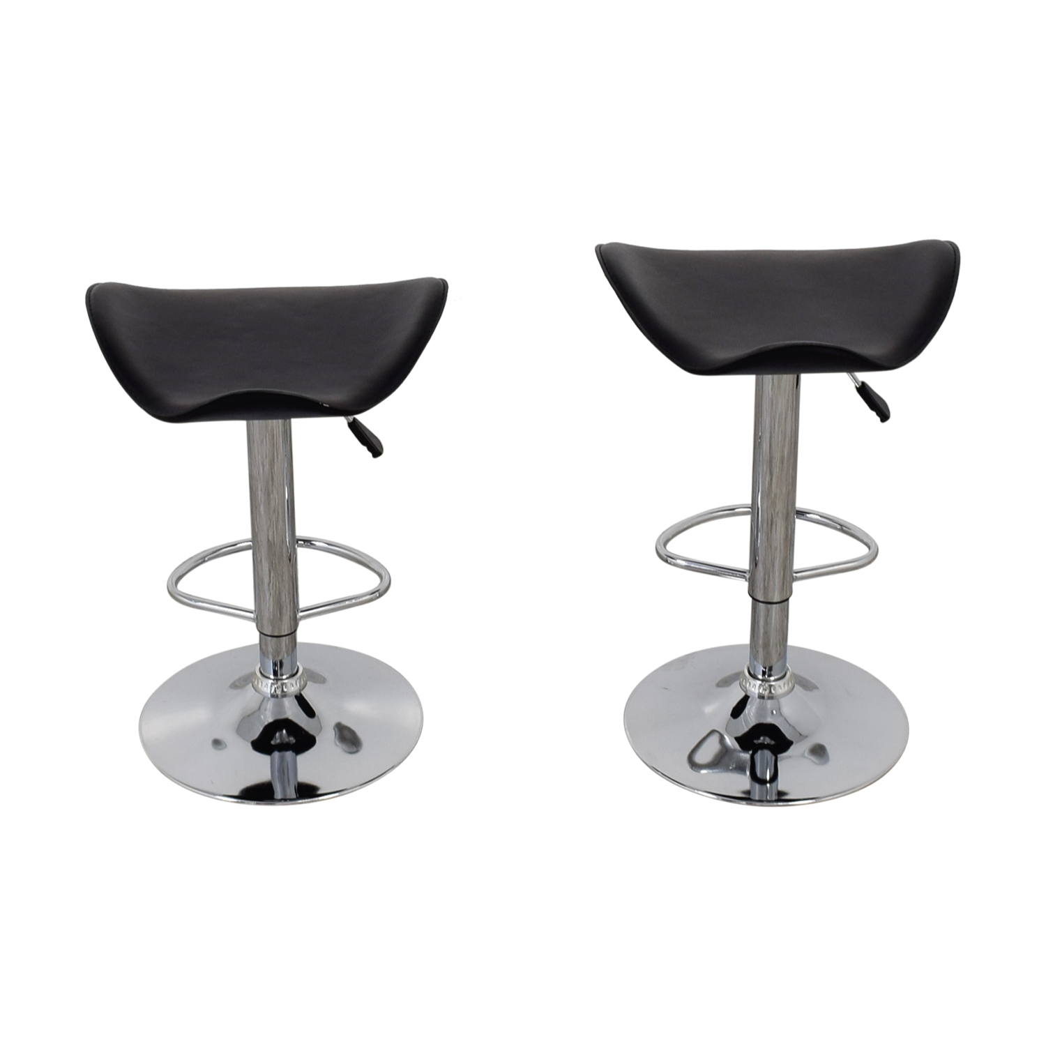 Swell 71 Off Black Leather And Chrome Adjustable Bar Stools Chairs Andrewgaddart Wooden Chair Designs For Living Room Andrewgaddartcom