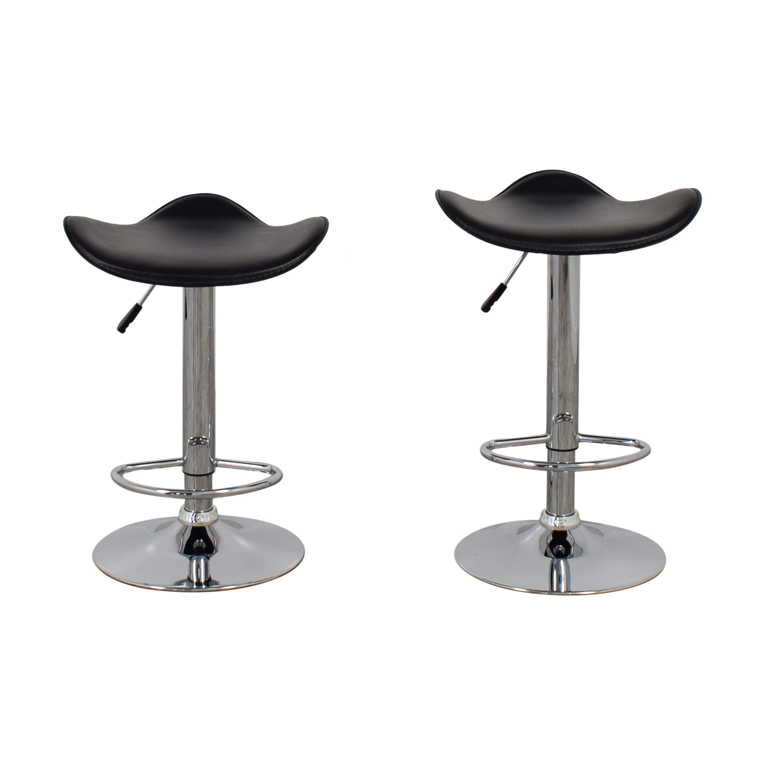 shop Black Leather and Chrome Adjustable Bar Stools