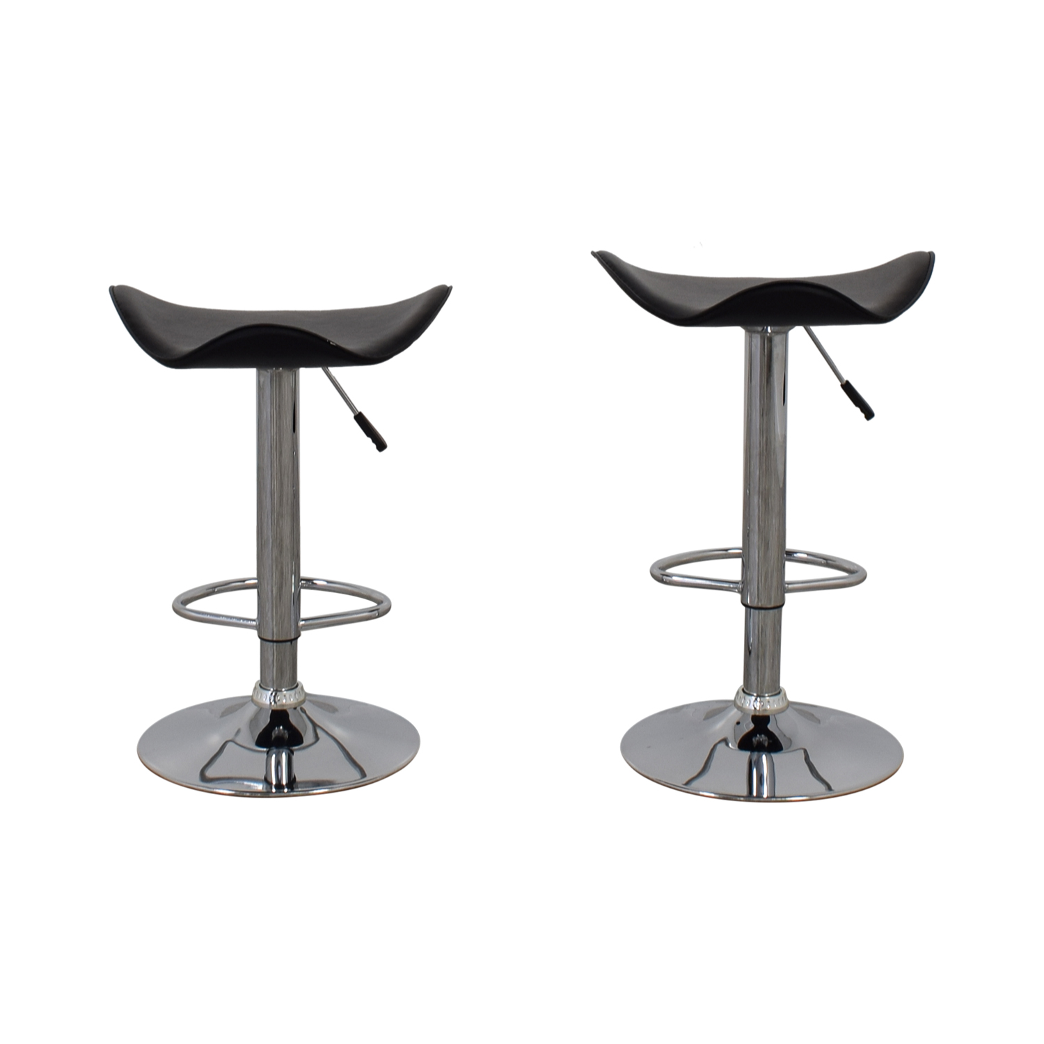 Black Leather and Chrome Adjustable Bar Stools / Chairs