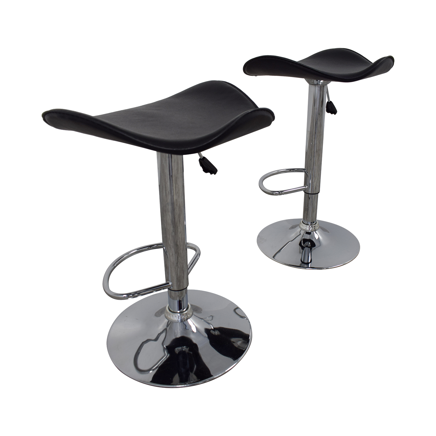 Incredible 71 Off Black Leather And Chrome Adjustable Bar Stools Chairs Andrewgaddart Wooden Chair Designs For Living Room Andrewgaddartcom