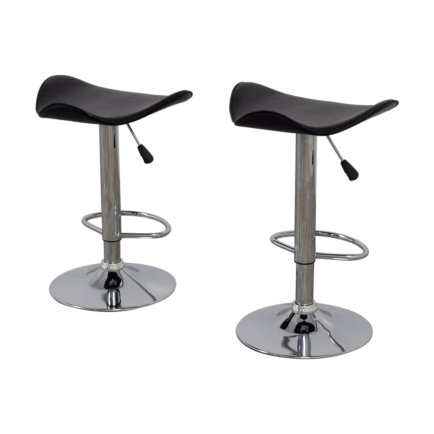 Tremendous 71 Off Black Leather And Chrome Adjustable Bar Stools Chairs Ncnpc Chair Design For Home Ncnpcorg