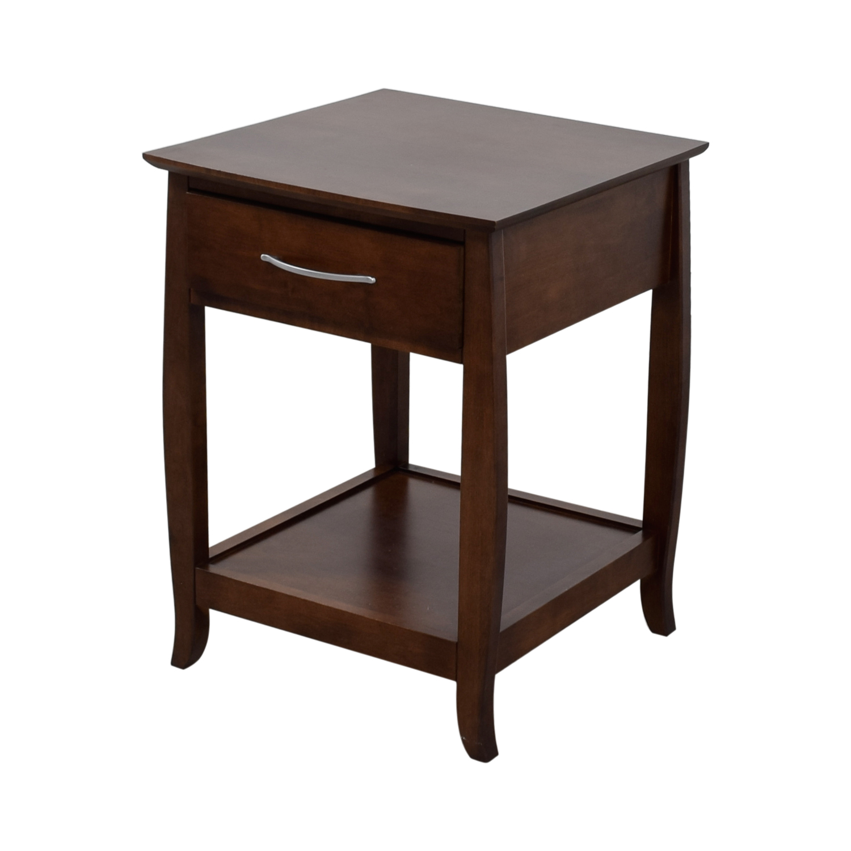 Walnut Brown Wood Brewston Coffee Table: Baronet Baronet Single-Drawer Wood Nightstand
