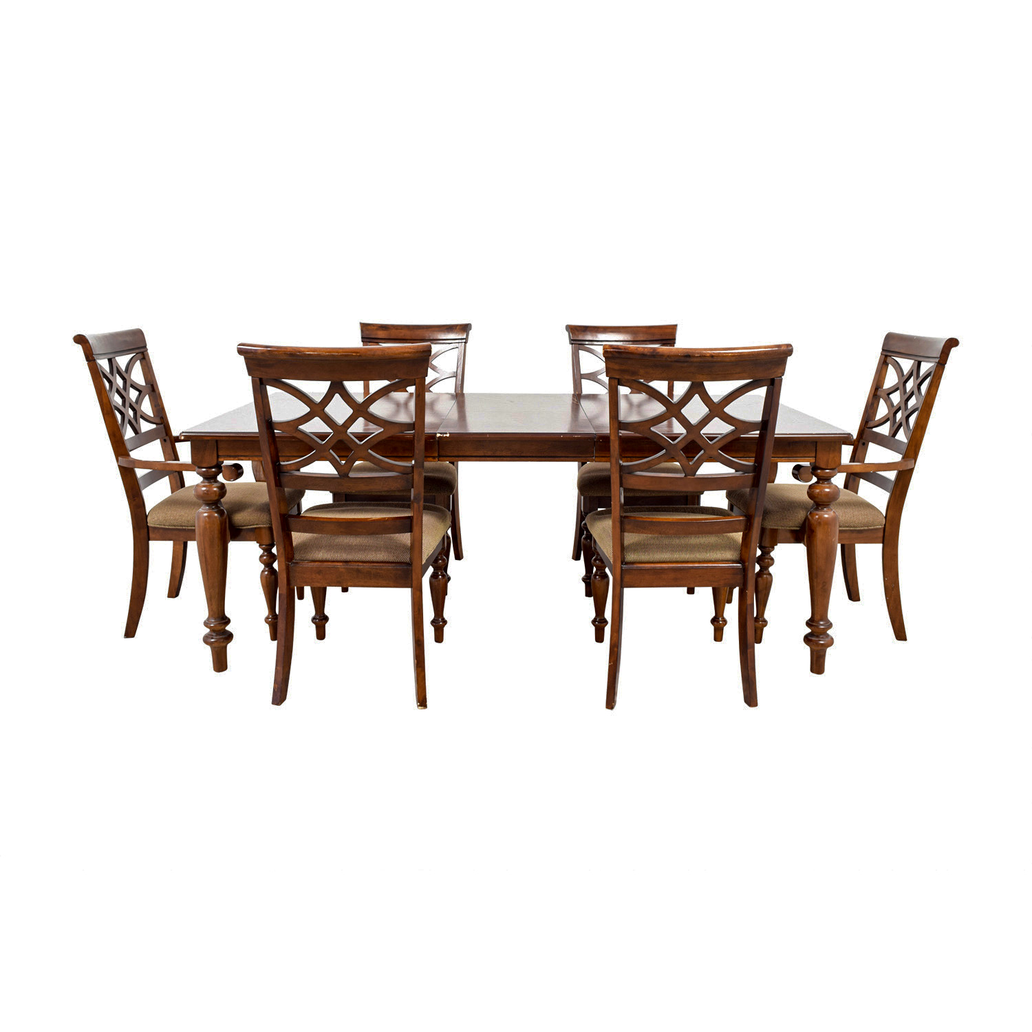 Bob's Furniture Wood Dining Set Table with Extention Leaf sale