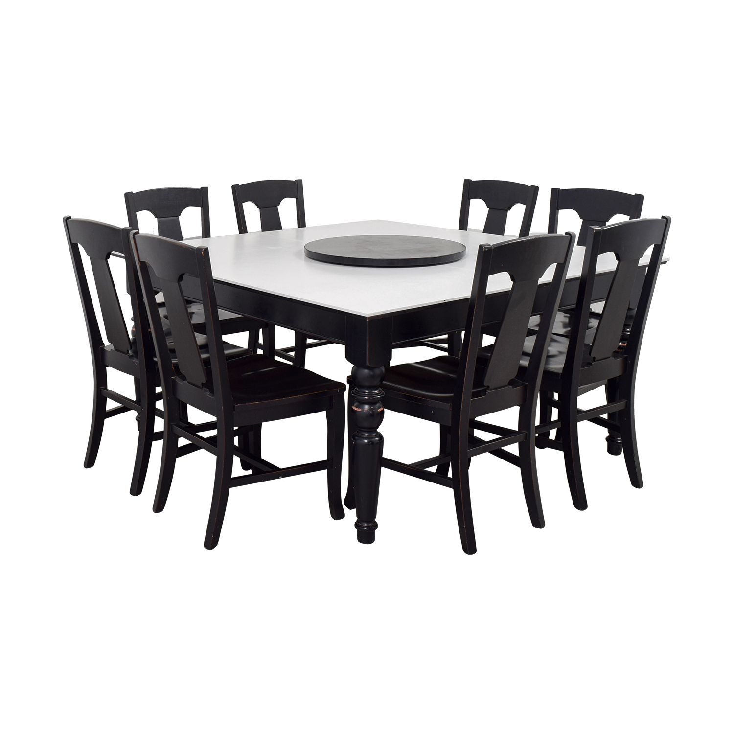 Pottery Barn Pottery Barn White and Black Extendable Dining Set with Lazy Susan