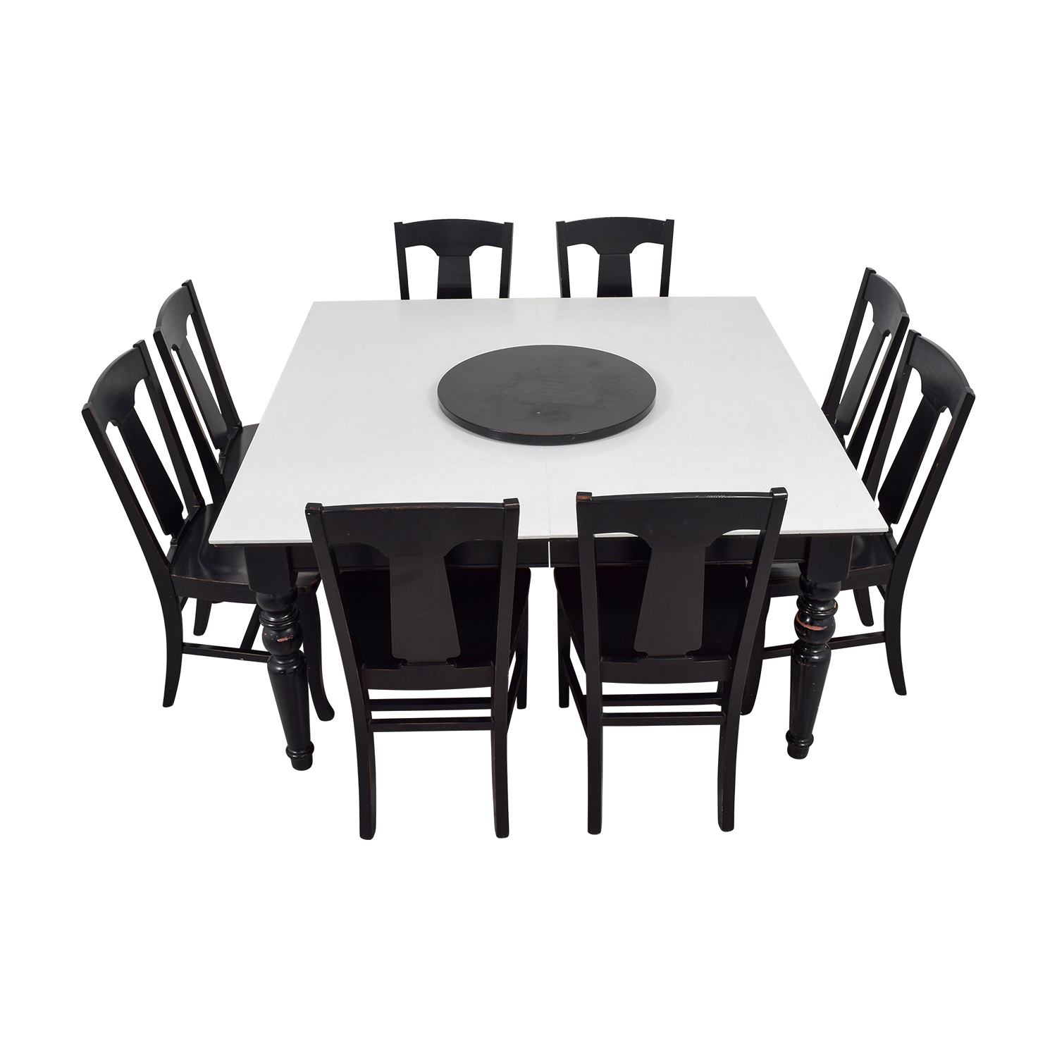 Pottery Barn Pottery Barn White and Black Extendable Dining Set with Lazy Susan second hand