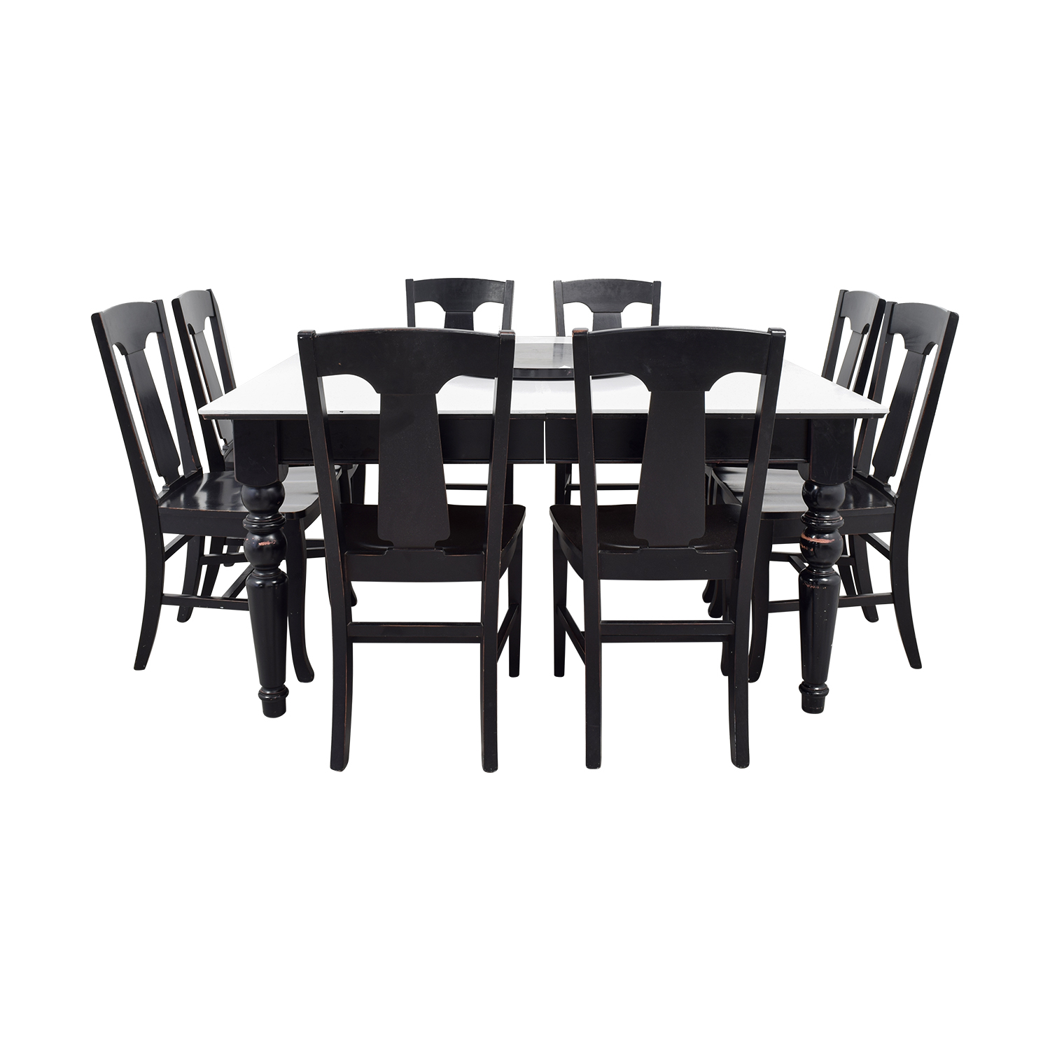 buy Pottery Barn White and Black Extendable Dining Set with Lazy Susan Pottery Barn Tables
