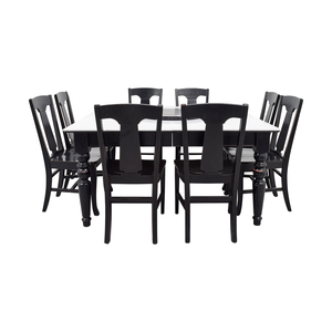 Pottery Barn White and Black Extendable Dining Set with Lazy Susan sale