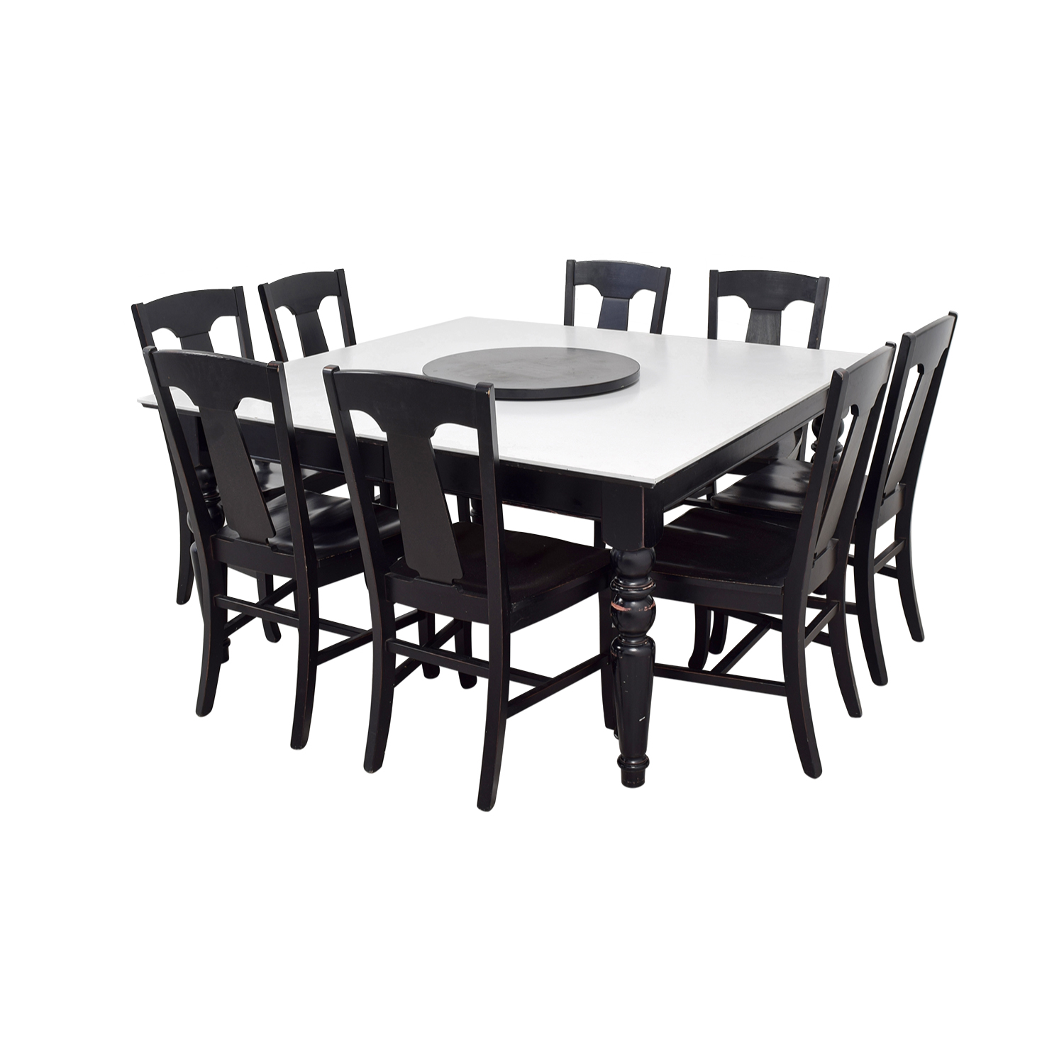Pottery Barn White and Black Extendable Dining Set with Lazy Susan / Dinner Tables