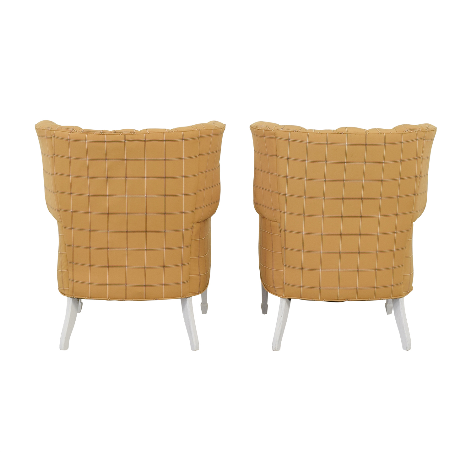 Vintage Yellow and Beige Plaid Wing Back Accent Chairs / Chairs