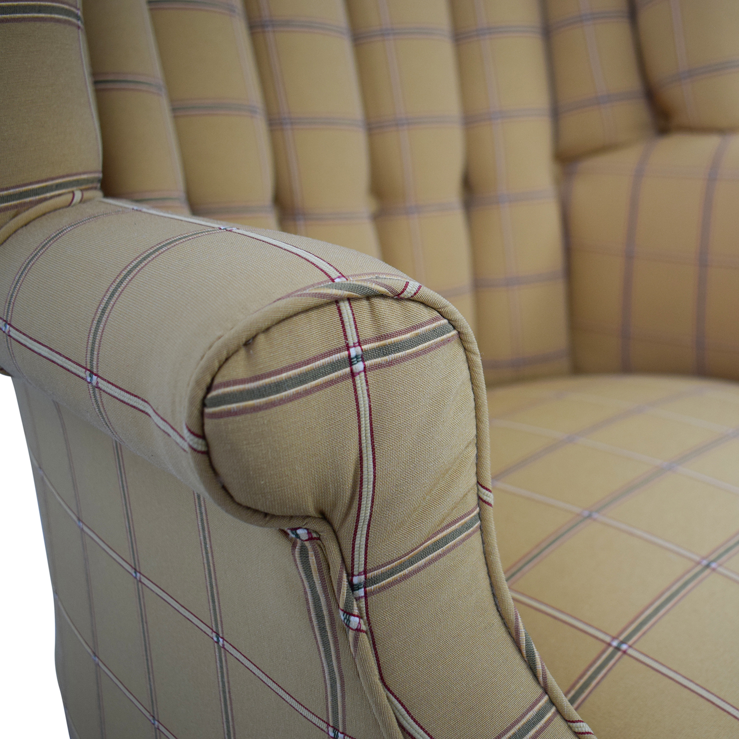 buy Vintage Yellow and Beige Plaid Wing Back Accent Chairs  Chairs