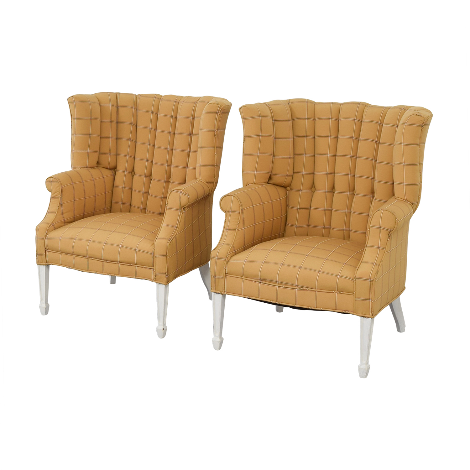 shop Vintage Yellow and Beige Plaid Wing Back Accent Chairs