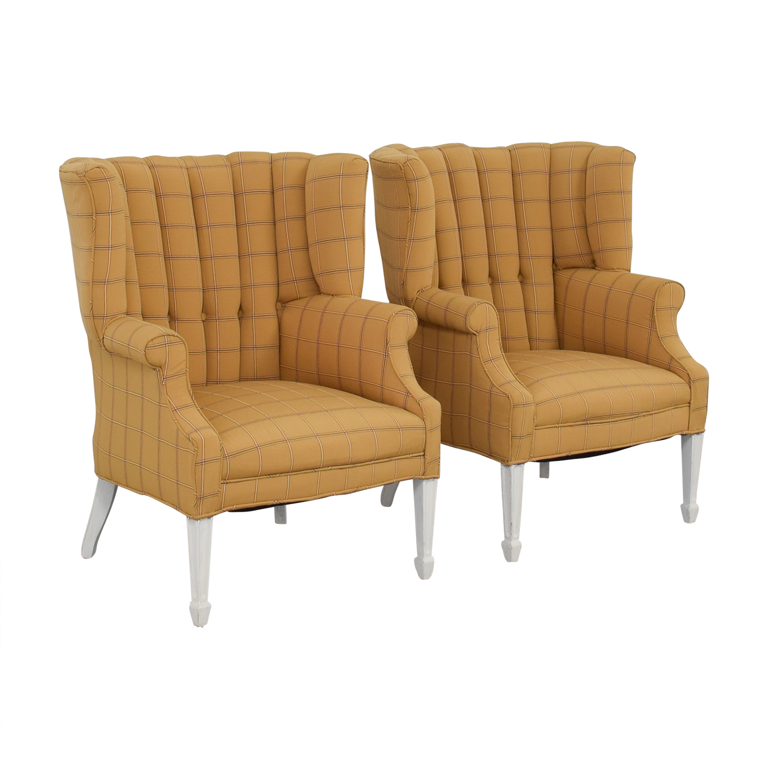 Vintage Yellow and Beige Plaid Wing Back Accent Chairs second hand