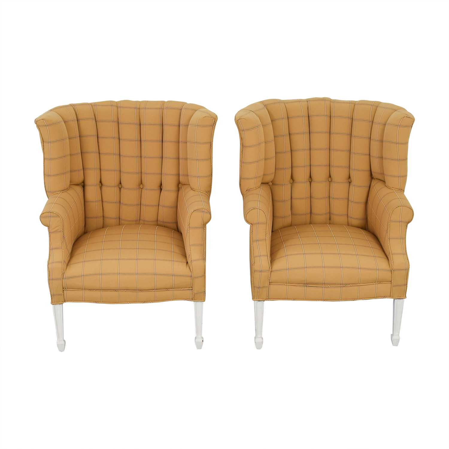 Vintage Yellow and Beige Plaid Wing Back Accent Chairs on sale