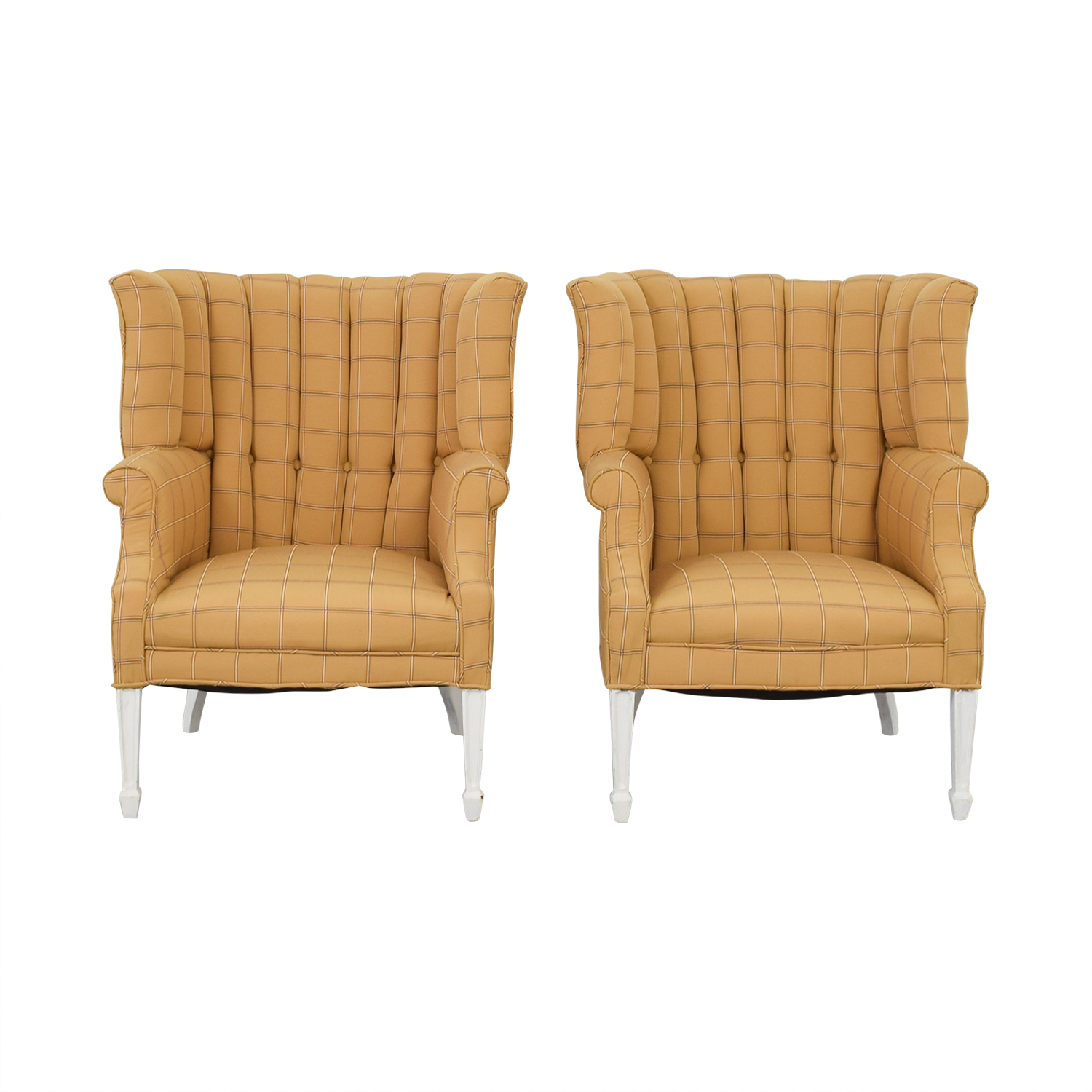 Vintage Yellow and Beige Plaid Wing Back Accent Chairs used