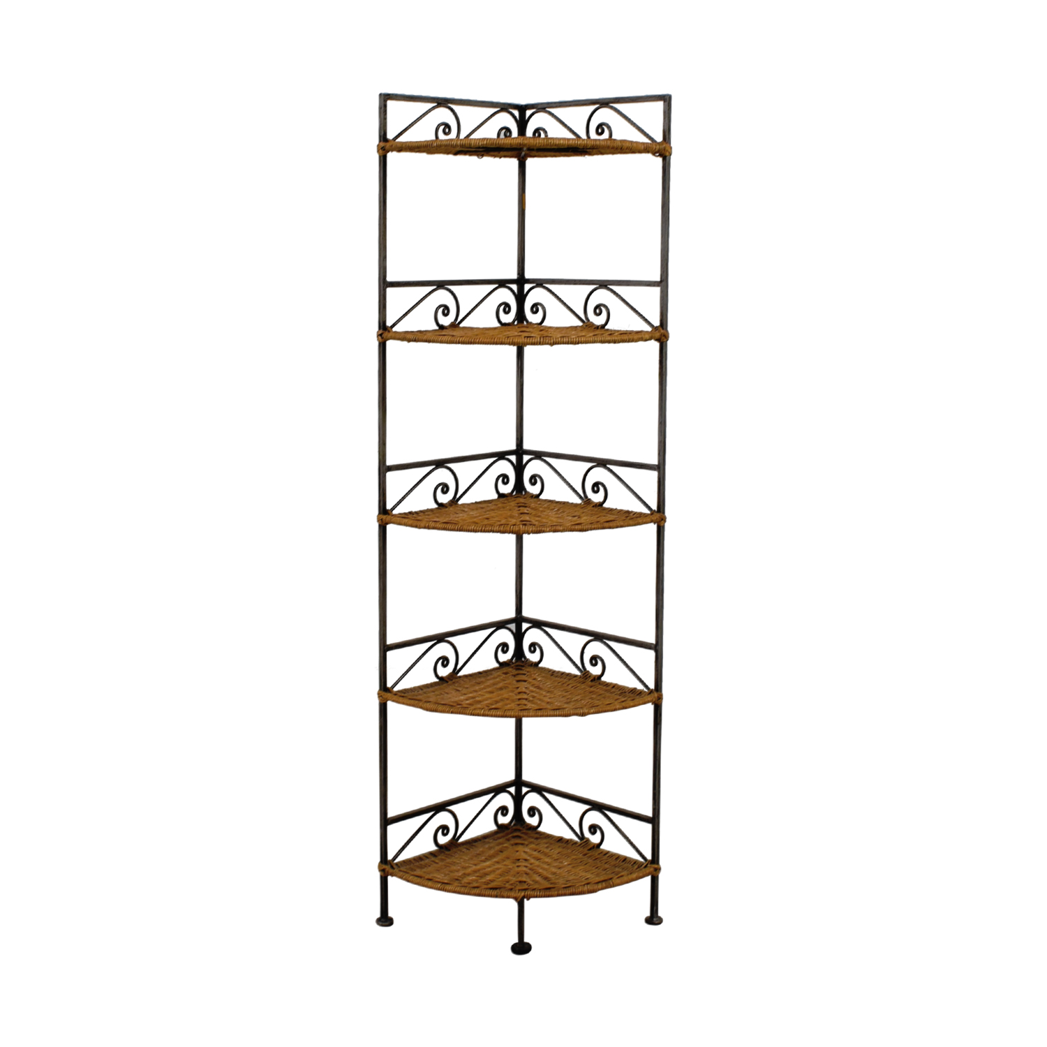 Pier 1 Imports Pier 1 Imports Metal and Wicker Corner Shelves for sale