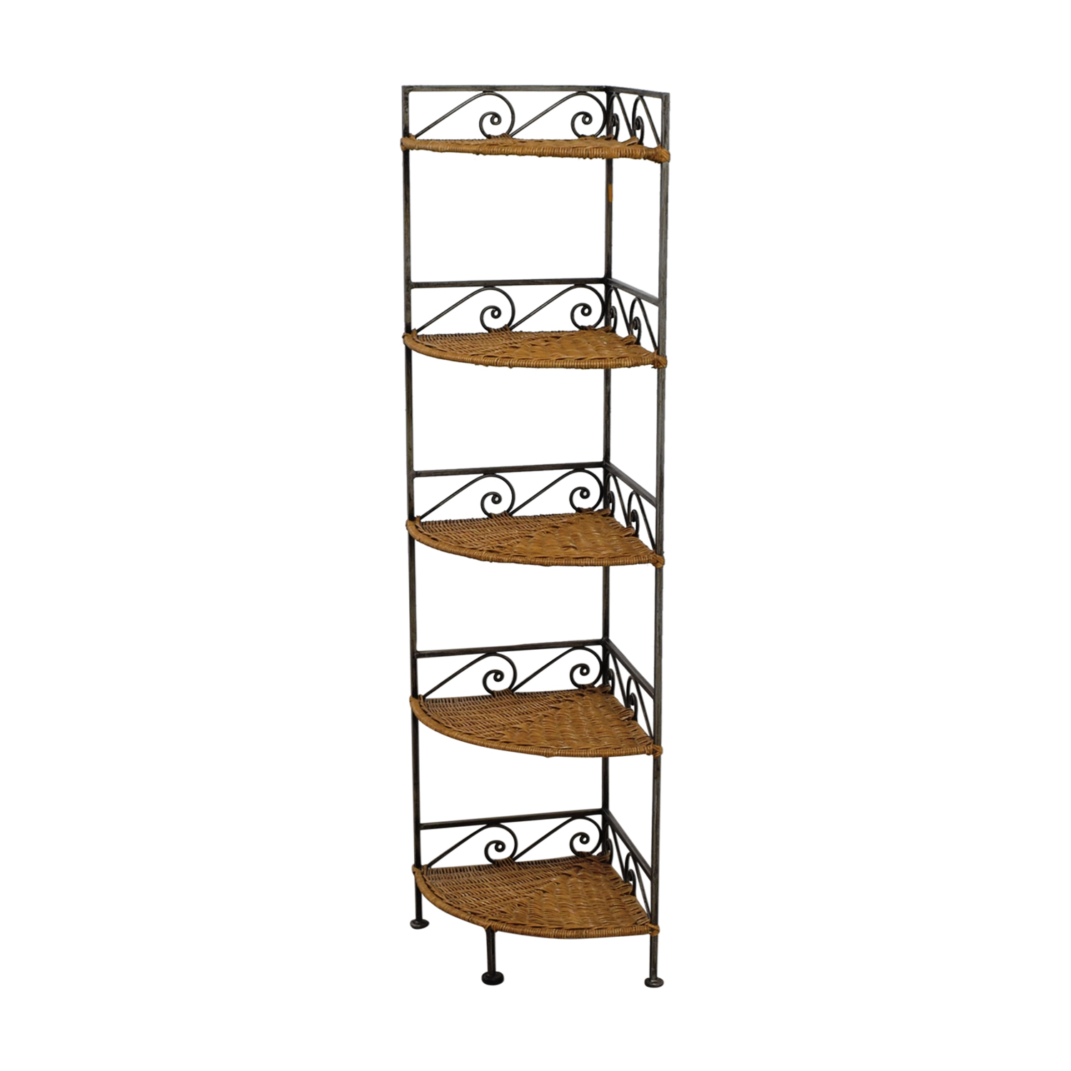 Pier 1 Imports Pier 1 Imports Metal and Wicker Corner Shelves dimensions
