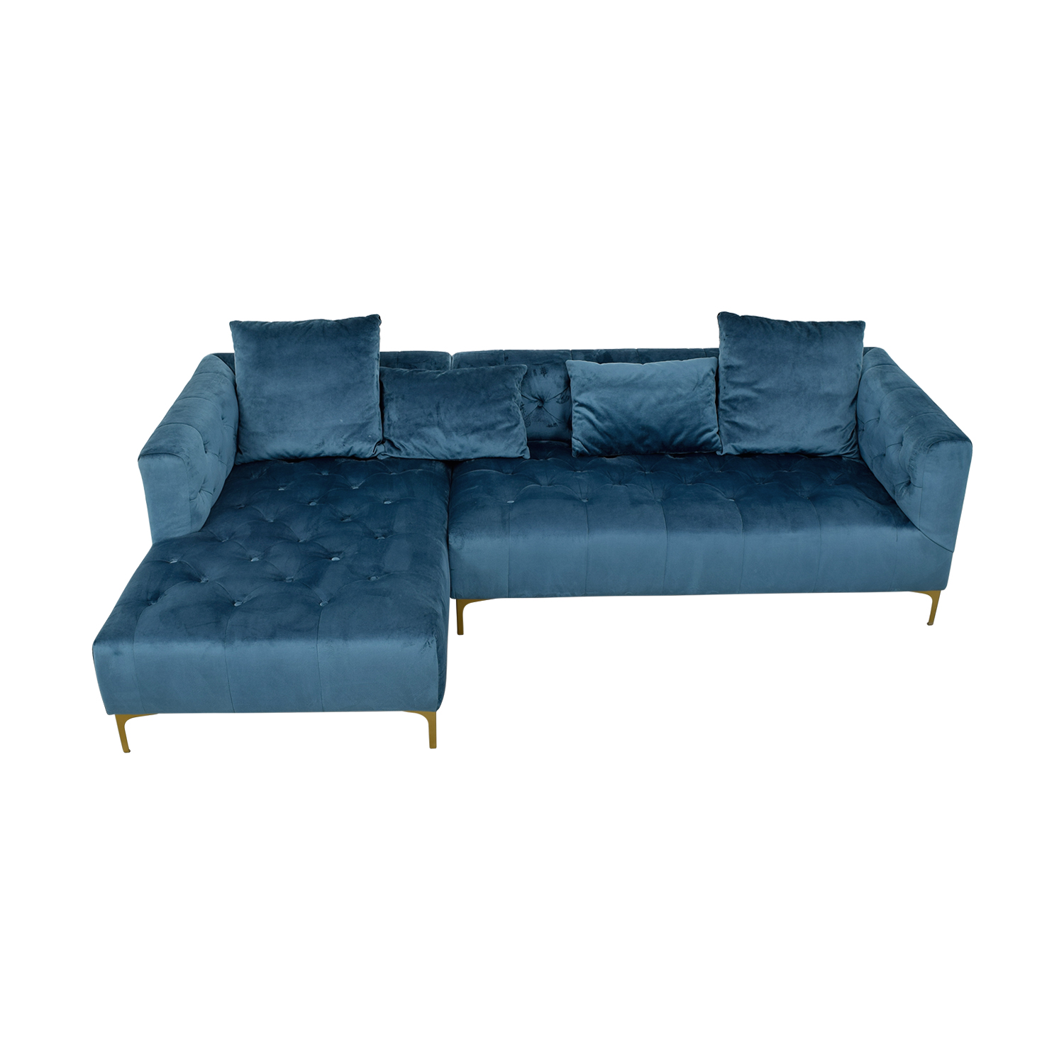 Ms. Chesterfield Teal Tufted Left Chaise Sectional blue