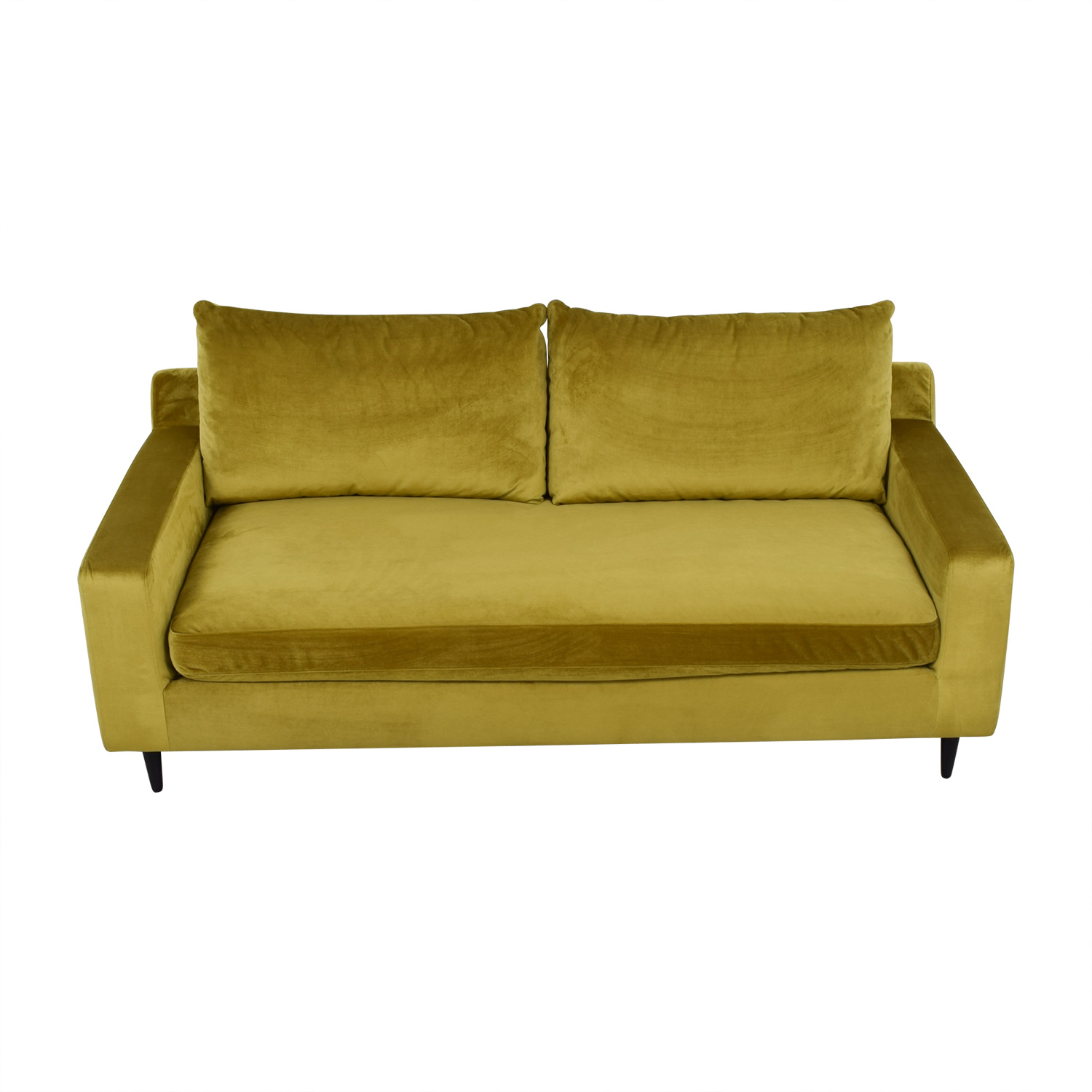 shop Sloan Yellow Velvet Single Cushion Sofa  Sofas