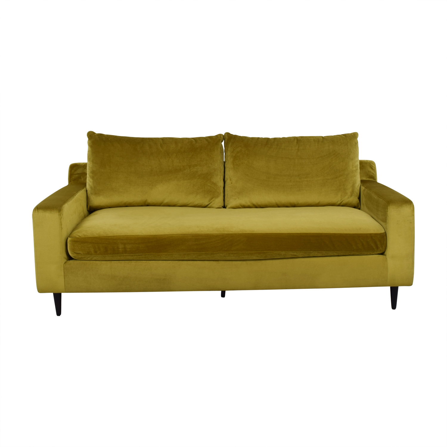 Sloan Yellow Velvet Single Cushion Sofa / Classic Sofas
