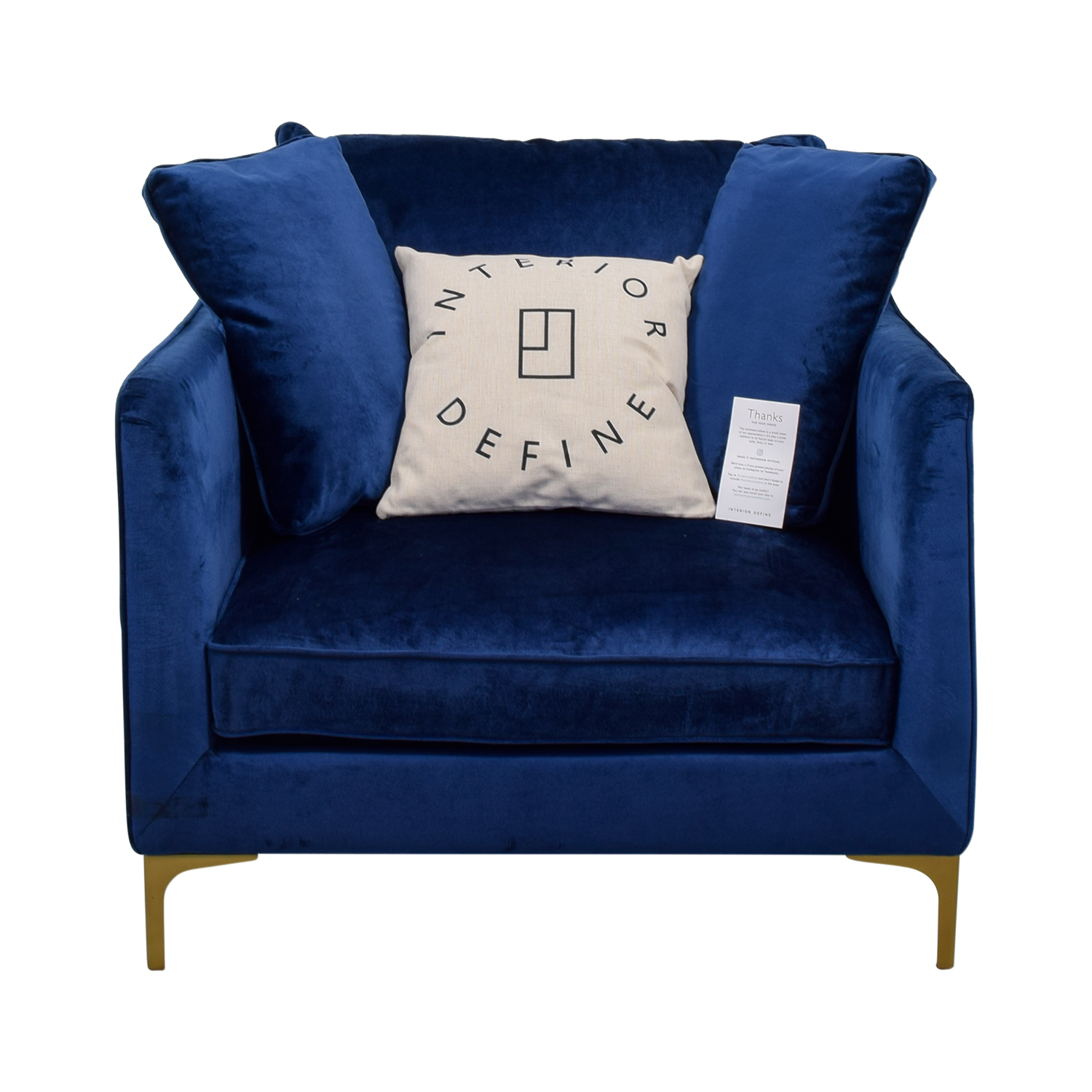 buy Caitlin Oxford Blue Velvet Chair Interior Define Accent Chairs