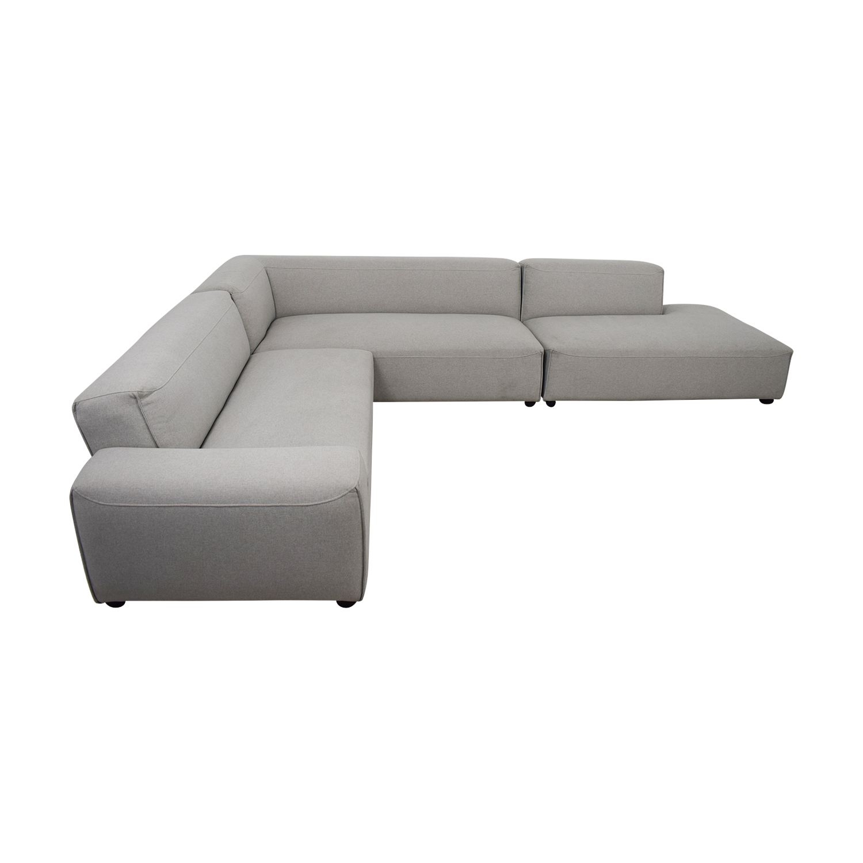 Crawford Grey L-Shaped Corner Sectional dimensions