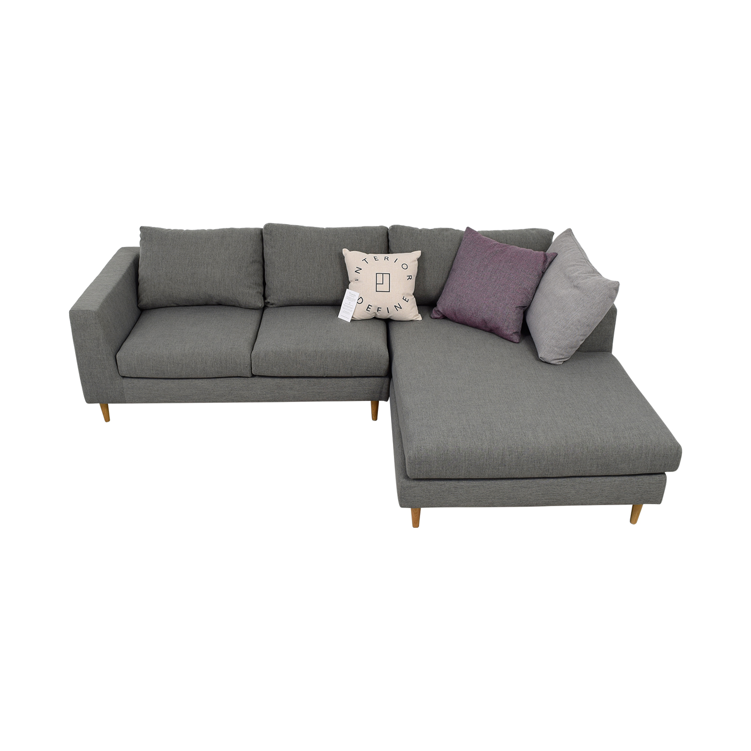 shop Asher Grey Right Chaise Sectional  Sofas
