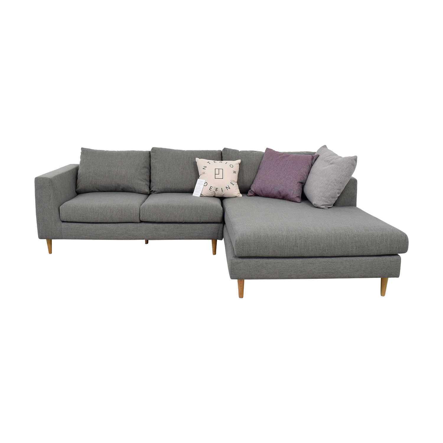 Asher Grey Right Chaise Sectional Sofas