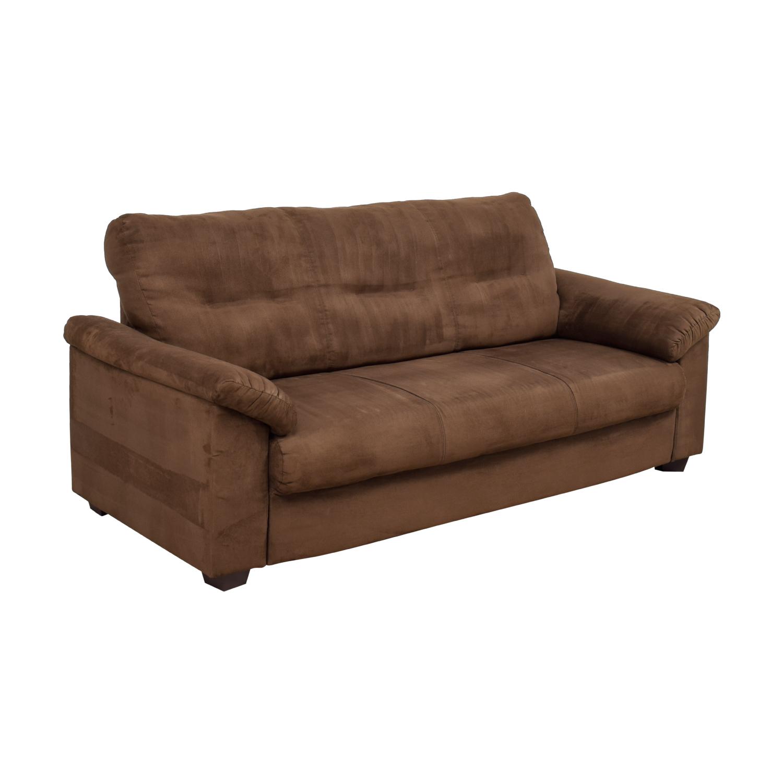 Brown Microsuede Single Cushion Sofa Classic Sofas