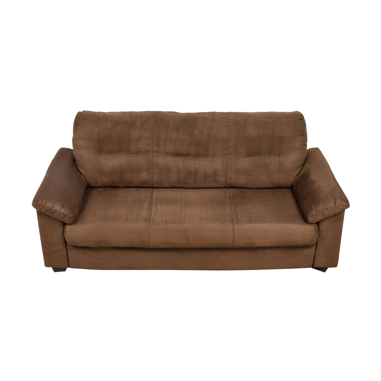 Brown Microsuede Single Cushion Sofa used