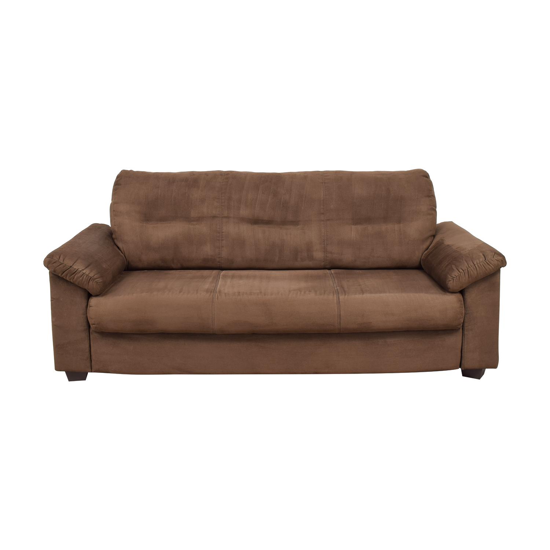Brown Microsuede Single Cushion Sofa Discount ...