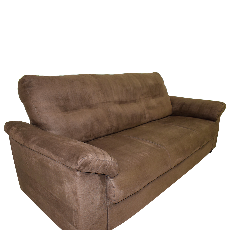 Brown Microsuede Single Cushion Sofa nyc