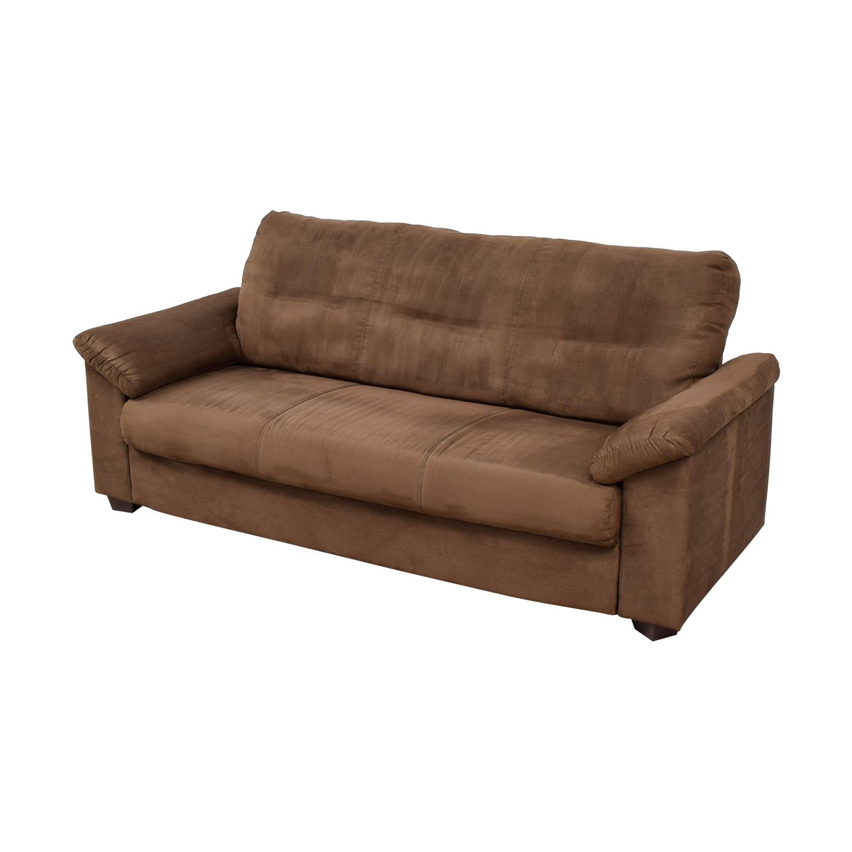 Brown Microsuede Single Cushion Sofa second hand