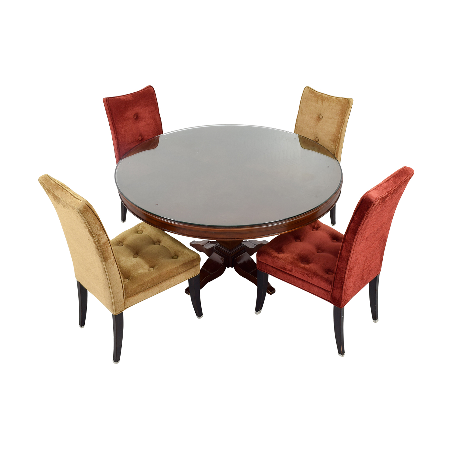 Bombay Bombay Artisan Round Dining Table with Red & Beige Chairs discount