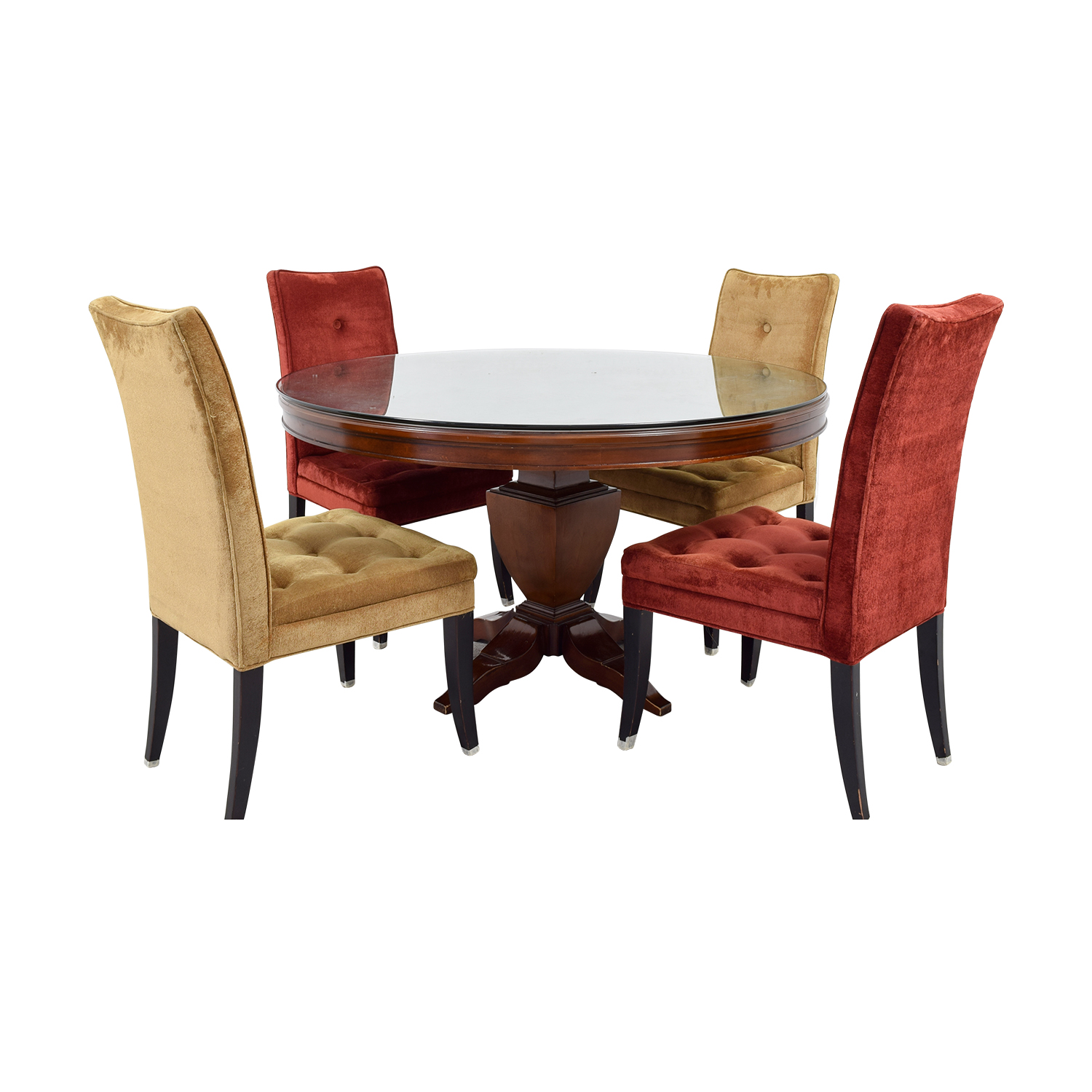 shop Bombay Artisan Round Dining Table with Red & Beige Chairs Bombay