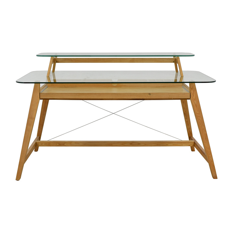 buy AG Merch AG Merch Natural Two-Tiered Desk with Glass Top online