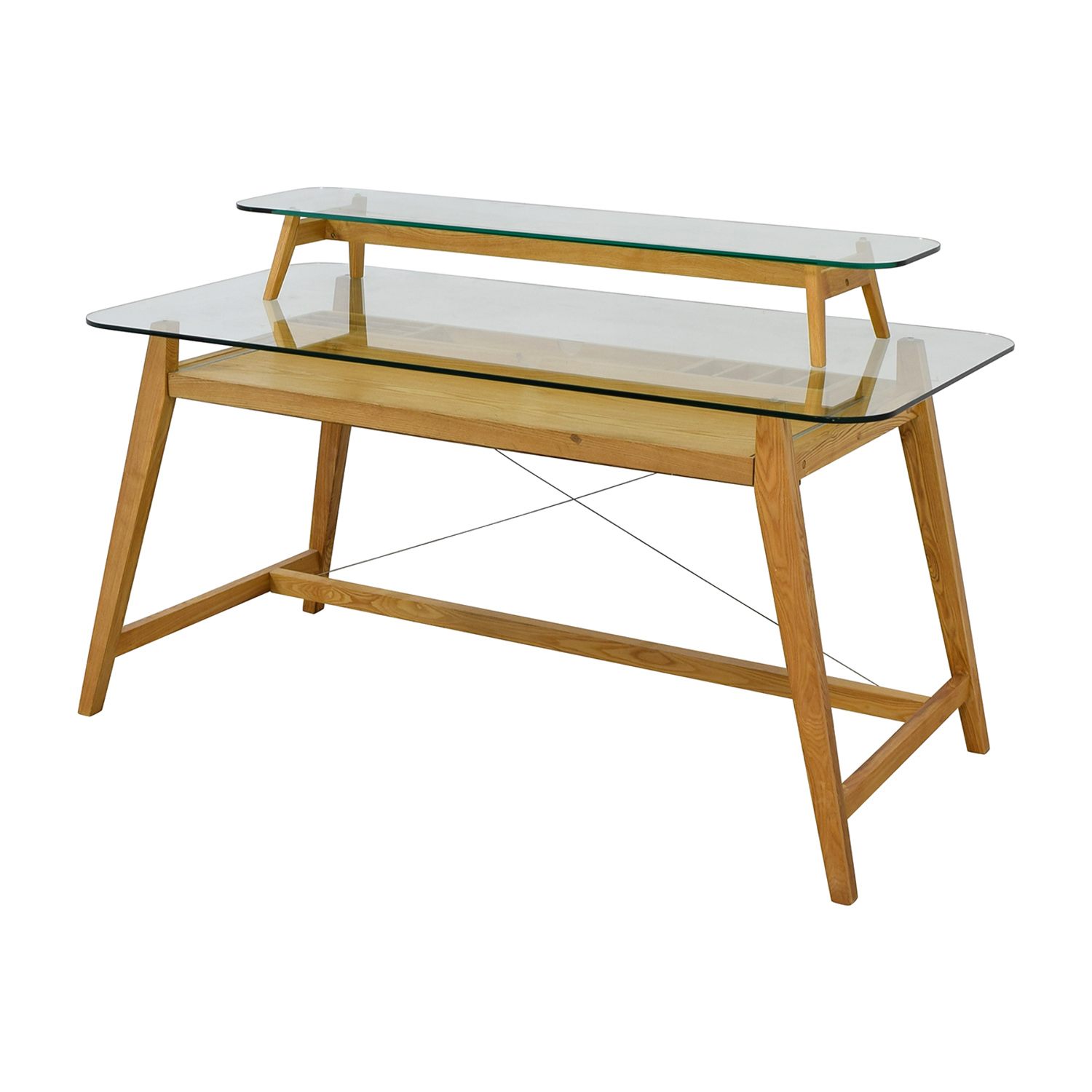 buy AG Merch Natural Two-Tiered Desk with Glass Top AG Merch