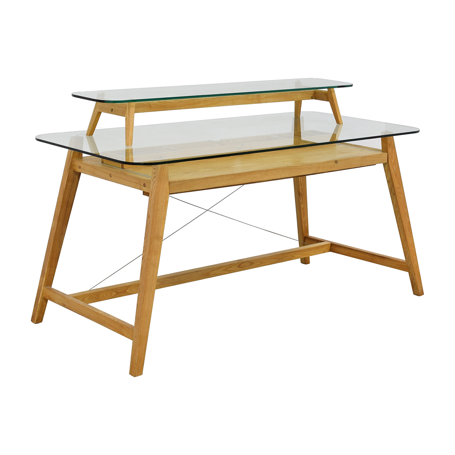 AG Merch Natural Two-Tiered Desk with Glass Top / Home Office Desks