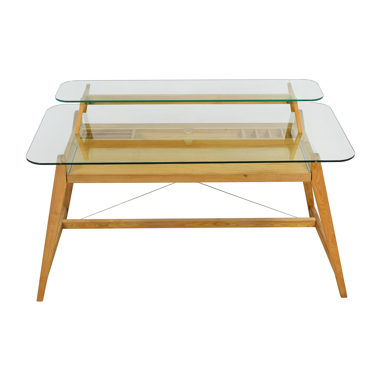 AG Merch AG Merch Natural Two-Tiered Desk with Glass Top nyc