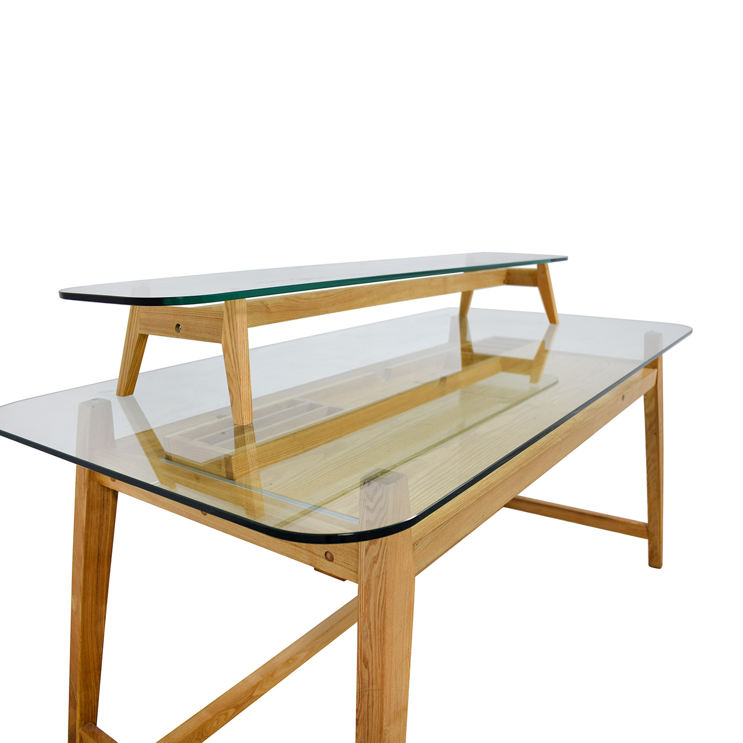 AG Merch Natural Two-Tiered Desk with Glass Top / Tables