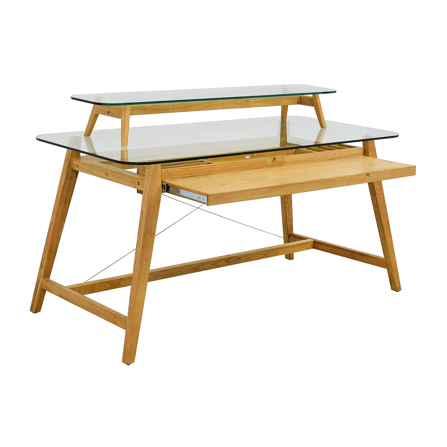 AG Merch AG Merch Natural Two-Tiered Desk with Glass Top for sale