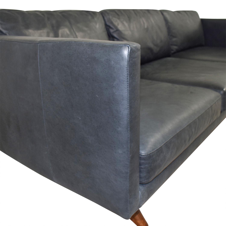 West Elm West Elm Brooklyn Grey Leather Three-Cushion Sofa nj