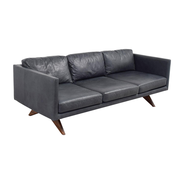 West Elm West Elm Brooklyn Grey Leather Three-Cushion Sofa Classic Sofas