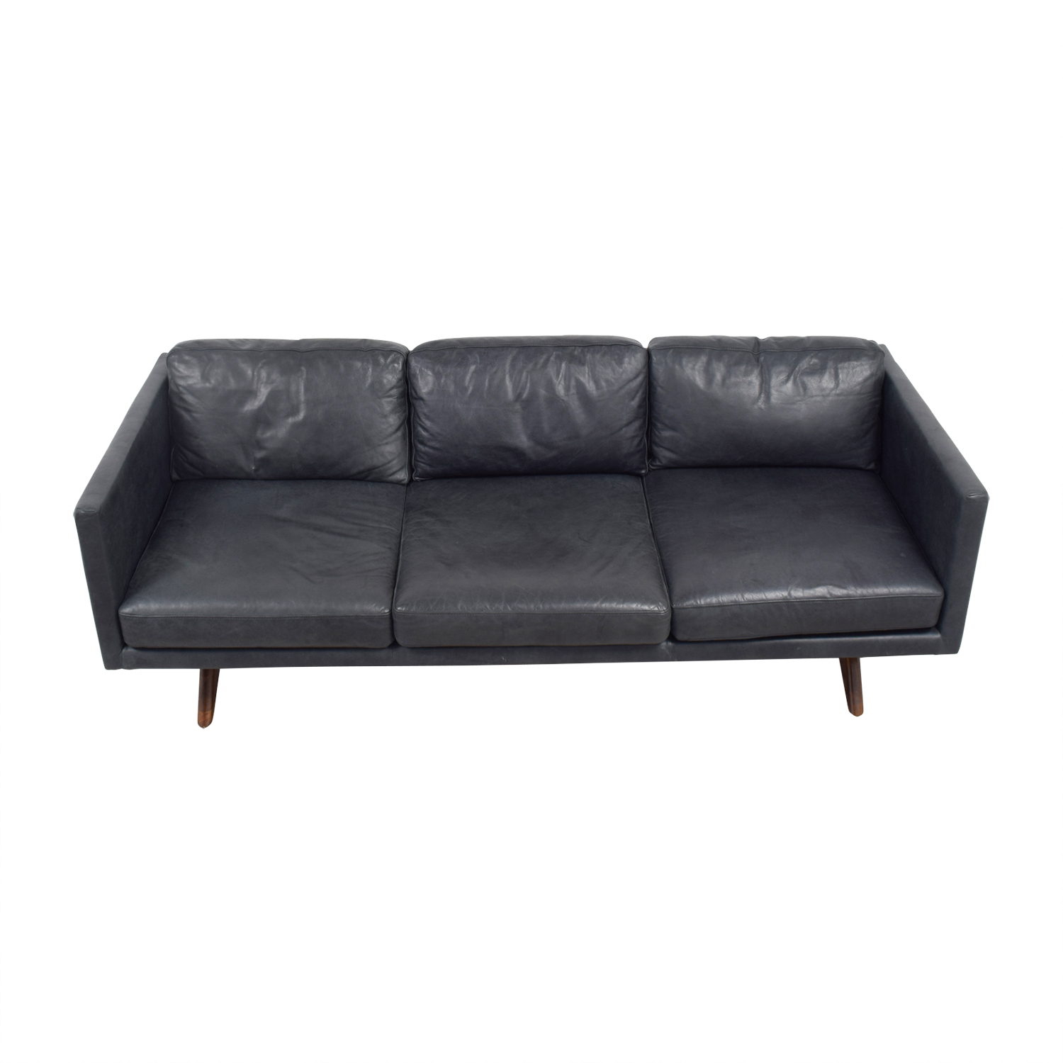 West Elm Brooklyn Grey Leather Three-Cushion Sofa / Sofas