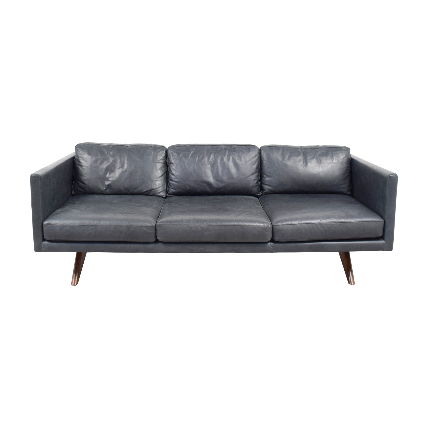 West Elm West Elm Brooklyn Grey Leather Three-Cushion Sofa Classic Sofas