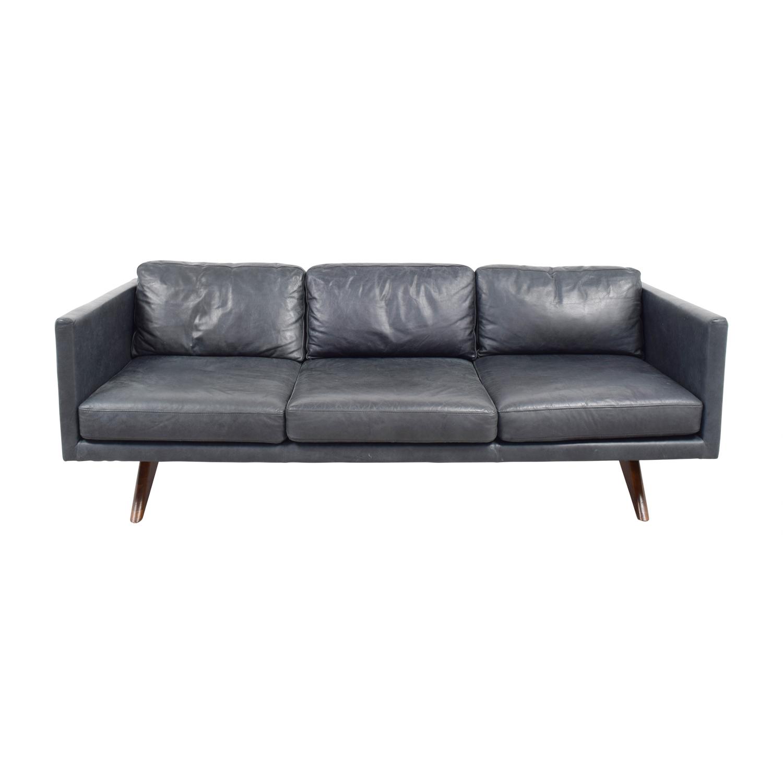 buy West Elm Brooklyn Grey Leather Three-Cushion Sofa West Elm Sofas